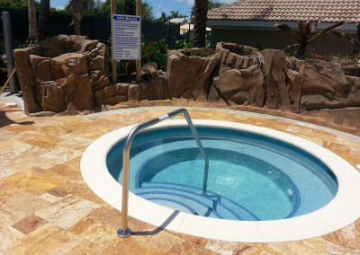 pool with rock formations