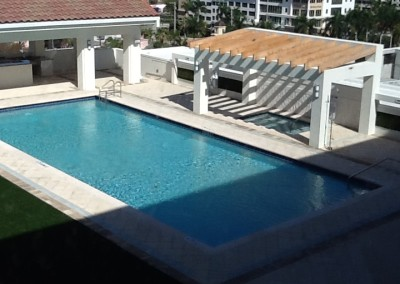 commercial pool roof view