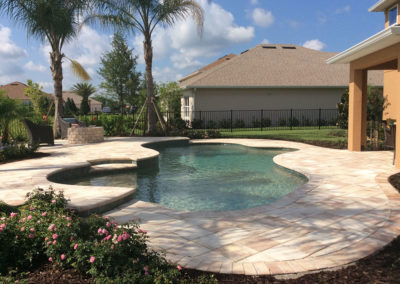 pool with custom pavers